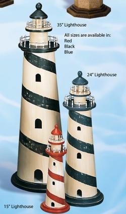 15 Inch Mini Wood No Light Lighthouse