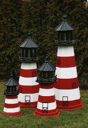 5 Foot Wooden Assateague Painted Wooden Lighthouse