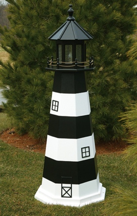 5 Foot Wooden Bodie Island Painted Wooden Lighthouse
