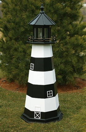 4 Foot Wooden Cape Canaveral Painted Wooden Lighthouse