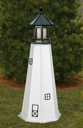 5 Foot Wooden Cape Cod Painted Wooden Lighthouse