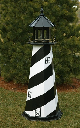 4 Foot Wooden Cape Hatteras Painted Wooden Lighthouse