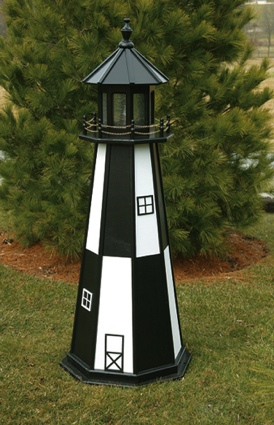 2 Foot Wooden Cape Henry Painted Wooden Lighthouse