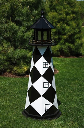 6 Foot Wooden Cape Lookout Painted Wooden Lighthouse