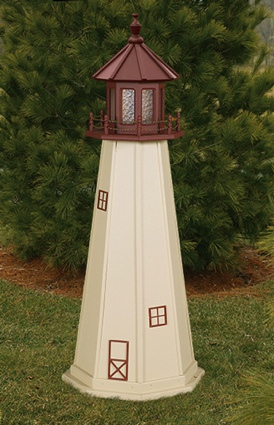 5 Foot Wooden Cape May Painted Wooden Lighthouse