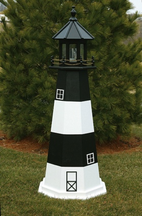 6 Foot Wooden Fire Island Painted Wooden Lighthouse