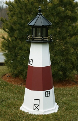 6 Foot Wooden Montauk Painted Wooden Lighthouse