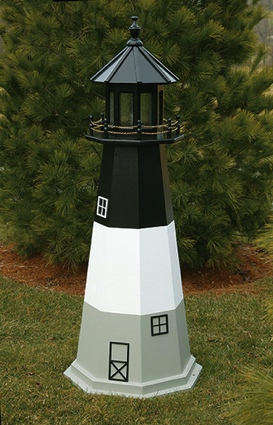4 Foot Wooden Oak Island Painted Wooden Lighthouse
