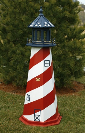5 Foot Wooden Patriotic Painted Wooden Lighthouse