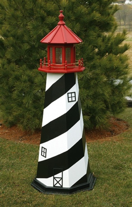 5 Foot Wooden St. Augustine Painted Wooden Lighthouse