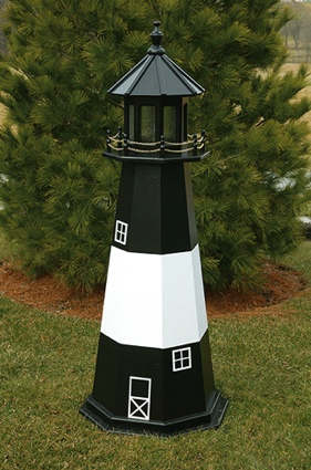 5 Foot Wooden Tybee Island Painted Wooden Lighthouse