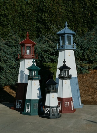 2 Foot Wooden Vermillion Painted Wooden Lighthouse