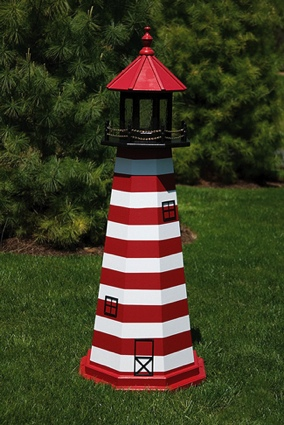 5 Foot Wooden West Quoddy Painted Wooden Lighthouse