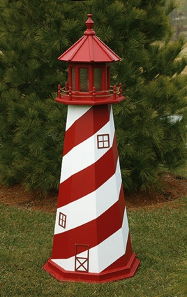 6 Foot Wooden White Shoal Painted Wooden Lighthouse