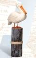 24 Inch Wooden Pelican on Post