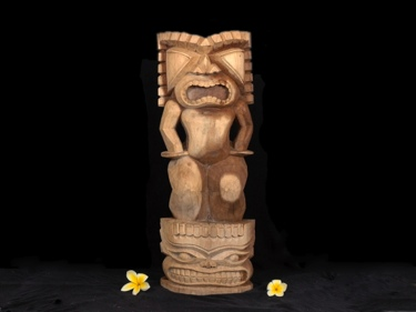 Stacked Tiki Ku Kanaloa 26 Acacia Wood Garden Decor