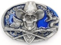 Cowboy Skull Belt Buckle Enameled 3 x 2-1/4